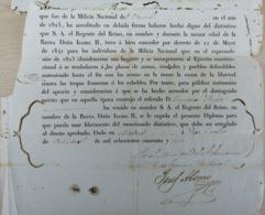 E6340 ESPAÑA SPAIN DIPLOMA DE CERTIFICACION DE MILICIA MILITAR 1841 FIRMADO MINISTRO DE GOBERNACION. 40x26cm. - Historical Documents