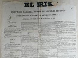 E6341 CUBA ESPAÑA 1861 PLIEGO DE CONDICIONES SEGURO CONTRA INCENDIOS EL IRIS FIRE INSURANCE POSTER 61x40cm. - Historical Documents