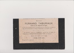 FAIRE PART DE LA FAMILLE De FERNAND TABURIAUX - Soldat Au 10è REGIMENT DE LIGNE..tombé Glorieusement Le 18 Octombre 1918 - Overlijden