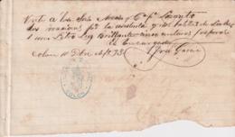 E6357 CUBA SPAIN 1893 RECIBO DE LECHE PARA EL LAZARETO DE COLON, MATANZAS, MILK + QUEROSENE. - Historical Documents