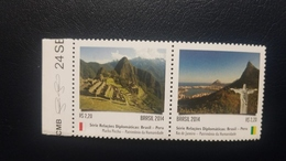 O) 2014 BRAZIL, HERITAGE - UNESCO,DIPLOMATIC RELATIONS WITH PERU, ARCHEOLOGY - MACHU PICCHU, CHRIST THE REDEEMER, MNH - Brazil