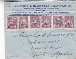 1940'S COMMERCIAL COVER- CIA ARGENTINA DE NAVEGACION MIHANOVICH LDA. CIRCULEE PARAGUAY TO ARGENTINE - BLEUP - Paraguay