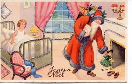 Illustrée Avec Brillants : Père Noël, Jouets Et Petite Fille - Santa Claus