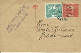 1920  Postkarte 15 H + 5 H Von Kutna Hora (Kuttenberg) Nach Police - Entiers Postaux