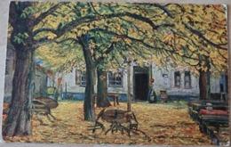 Künstler Kunstkarte Otto Rau München Im Wirtsgarten Biergarten - Künstlerkarten