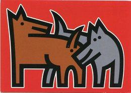 DOS PERROS OLIÉNDOSE DE ARCHER ART AMSTERDAM, DIBUJO COMICO, HUMOR. ARGENTINA CIRCA 2000's POSTAL PUBLICIDAD -LILHU - Perros