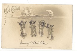 22203 - Viel Glück Für 1904 Anges Soleil Et Lune Carte En Relief - Nouvel An