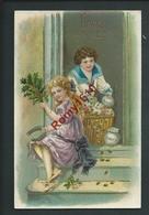 BONNE ANNÉE. Enfant Avec Un Panier De Pièces D'or. Carte Porte Bonheur, Gaufrée. 2 Scans - Monete (rappresentazioni)