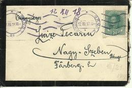 1918  Brief Von Brünn (Brno) Nach Nagy-Szeben (jetzt Sibiu, Romania,  Deutsch: Hermannstadt) - 1850-1918 Empire