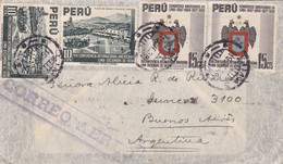 1938 AIRMAIL COVER CIRCULEE PERU TO ARGENTINA. BANDELETA PARLANTE, MIXED STAMPS- BLEUP - Pérou