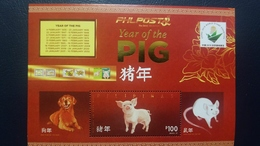 O) 2019 PHILIPPINES, CHINA 2019 WORLD STAMP EXHIBITION, YEAR OF THE PIG, DOG AND MOUSE,ANNUAL CALENDAR, MNH - Philippines