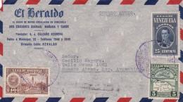 1940 COMMERCIAL COVER-EL HERALDO. CIRCULEE VENEZUELA TO ARGENTINE. BANDELETA PARLANTE- BLEUP - Venezuela