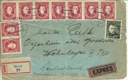 1940  Vorderseite Von Eingeschrieben Express Brief Von Zavod Nach Espenhain, Deutschland - Slovaquie