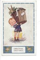 22209 - Christmas Greetings Garçon Portant Corbeille Avec Lapin Et Oie Oilette - Altri