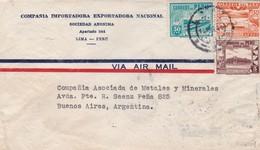 1944 COMMERCIAL COVER-COMPAÑIA IMPORTADORA EXPORTADORA NACIONAL. CIRCULEE PERU TO ARGENTINE. BANDELETA PARLANTE- BLEUP - Peru