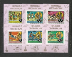 CENTRAL AFRICA  1980   Olympics Olympic Games   Moscow 1980  6 Deluxe Sheets Perf. Rare! - Summer 1980: Moscow