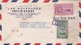 1950 COMMERCIAL COVER-LIBRERIA LAS NOVEDADES. CIRCULEE VENEZUELA TO ARGENTINE. BANDELETA PARLANTE- BLEUP - Venezuela