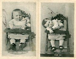 BEBE - OH! QUE C'EST BON !  - TROP BU - LOT De 2 CPA - - Babies