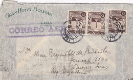 1938 COMMERCIAL COVER- GRAN HOTEL BOLIVAR. CIRCULEE PAR AIRMAIL PERU TO BUENOS AIRES. BANDELETA PARLANTE- BLEUP - Pérou