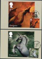 2009 GB Maximum Cards, Maxicards Set Of 6. Mythical Creatures, Dragons Unicorns Mermaids Giants Pixies Fairies - Maximum Cards