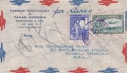 1940 COMMERCIAL COVER- FABRICA VENEZOLANA DE TAPAZ CORONA. CIRCULEE VENEZUELA TO USA PAR AIRMAIL- BLEUP - Venezuela