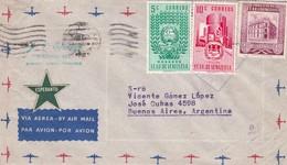 1953 COMMERCIAL COVER- J.V. ESPINOZA. CIRCULEE VENEZUELA TO BUENOS AIRES PAR AIRMAIL- BLEUP - Venezuela
