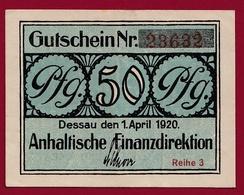Allemagne 1 Notgeld  50 Pfenning Stadt Dessau   (RARE) Dans L 'état N °4255 - Collections