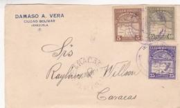 1950'S FRONT COMMERCIAL COVER- DAMASO A.VERA. 3 COLOR STAMPS CIRCULEE- BLEUP - Venezuela