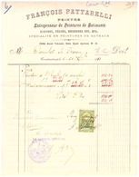 FRANCOIS PATTARELLI- PEINTRE ENTREPRENEUR DE PEINTURES DE BATIMENTS-PEINTURE DE BATEAUX- CONSTANTINOPLE 1913 FACTURE - France