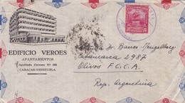 1950'S COMMERCIAL COVER- EDIFICIO VEROES. CIRCULEE VENEZUELA TO ARGENTINE PAR AIRMAIL- BLEUP - Venezuela