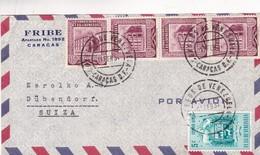 1954 COMMERCIAL COVER- FRIBE. CIRCULEE VENEZUELA TO SWITZERLAND- BLEUP - Venezuela