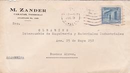 1954 COMMERCIAL COVER- M.ZANDER. CIRCULEE VENEZUELA TO ARGENTINE- BLEUP - Venezuela