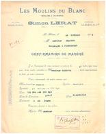 LES MOULINS DU BLANC-MOULINS A CYLINDRES- SIMON LERA  CONFIRMATION DE MARCHE - 1922 LE BLANC - MURAT - France