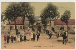 62  COULOGNE  -  Place De La Mairie -  CPA  Coul  9x14 BE Carte Glaçée Tampon 7ème Regiment Territorial - France