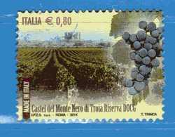 Italia- °-2014 - VINI DOCG.- Castel Del Monte Nero Di Troia Riserva - Unif. 3579.  Usato. - 6. 1946-.. Repubblica