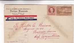 1947 COVER CIRCULEE HABANA CUBA TO BUENOS AIRES ARGENTINE PAR AVION- BLEUP - Cuba