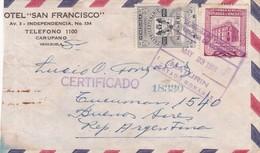 1956 COMMERCIAL COVER- HOTEL SAN FRANCISCO. CIRCULEE VENEZUELA TO ARGENTINE. REGISTERED- BLEUP - Venezuela