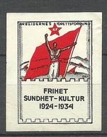 SWEDEN 1934 Poster Stamp Vignette Reklamemarke Sport Flag (*) - Vignetten (Erinnophilie)
