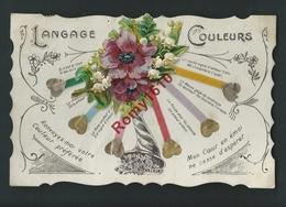 Langage Des Couleurs. Bouquet De Fleurs Monté Sur Tirette. Collage, Ajoutis. Circulé. Voir Dos. - A Systèmes