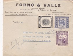 1943 COMMERCIAL COVER- FORNO & VALLE. CIRCULEE PARAGUAY TO ARGENTINE, MIXED STAMPS- BLEUP - Paraguay