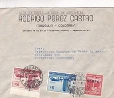 1955 COMMERCIAL COVER- RODRIGO PEREZ CASTRA, LIGA DE TENIS DE MESA DE ANTIOQUIA. CIRCULEE COLOMBIA TO URUGUAY. - BLEUP - Colombie