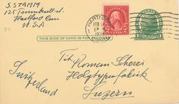 Ganzsache Jefferson 1939 Hartford Washington Karte Nach Luzern - United States