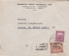 1944 COMERCIAL COVER- COOPERATIVA MEDICA COLOMBIANA LTDA. CIRCULEE COLOMBIA TO ARGENTINE. BANDELETA PARLANTE- BLEUP - Colombie