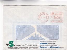 1991 COMERCIAL COVER- RP SCHERER ARGENTINA SAIC. CIRCULEE VILLA HERMOSA, ARGENTINE. FRANKING MACHINE- BLEUP - Lettres & Documents