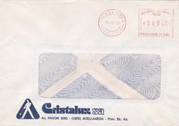 1991 COMERCIAL COVER- CRISTALUX SA. CIRCULEEE AVELLANEDA, ARGENTINE. FRANKING MACHINE- BLEUP - Argentinien