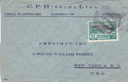 1945 COMERCIAL COVER- C.P.HIRSCHLD LTDA. CIRCULEE URUGUAY TO USA- BLEUP - Uruguay