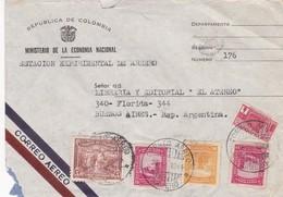 1944 COMERCIAL COVER- MINISTERIO ECONOMIA NACIONAL, ESTACION EXPERIMENTAL DE ARMERO. CIRCULEE COLOMBIA TO ARGENTI- BLEUP - Colombie