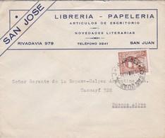 1943 COMERCIAL COVER- LIBRERIA PAPELERIA SAN JOSE. CIRCULEE SAN JUAN TO BUENOS AIRES, ARGENTINE- BLEUP - Argentine