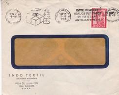 1964 COMMERCIAL COVER- INDO TEXTIL. CIRCULEE VILLA DOMINICO ARGENTINE. BANDELETA PARLANTE- BLEUP - Lettres & Documents