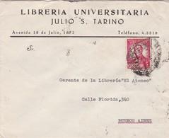 1942 COMMERCIAL COVER- LIBRERIA UNIVERSITARIA JULIO S.TARINO. CIRCULEE URUGUAY TO ARGENTINE. BANDELETA PARLANTE - BLEUP - Uruguay